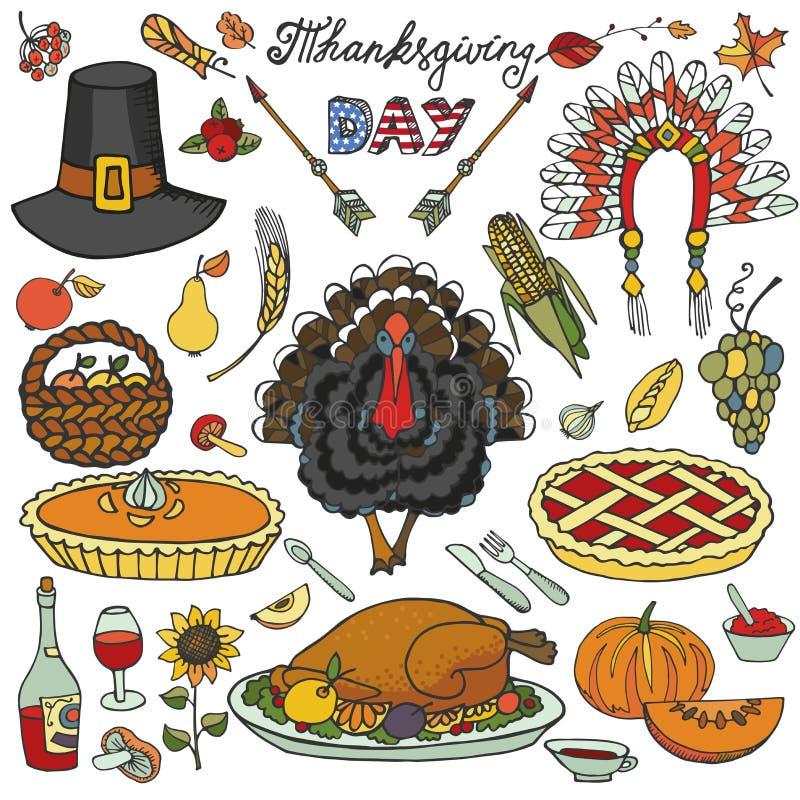 Thanksgiving day De kleurrijke reeks van krabbelpictogrammen royalty-vrije illustratie