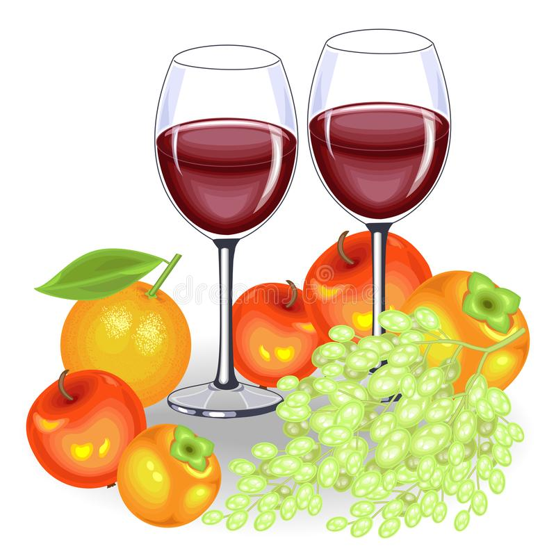 Thanksgiving Day. On the festive table, two glasses of red wine and fruit. A bunch of grapes, apples, persimmons and an orange. vector illustration