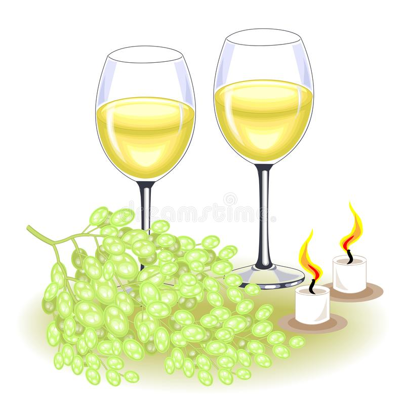 Thanksgiving Day. On the festive table are two glasses of white wine and a bunch of grapes. Candles give a romantic mood. Vector vector illustration