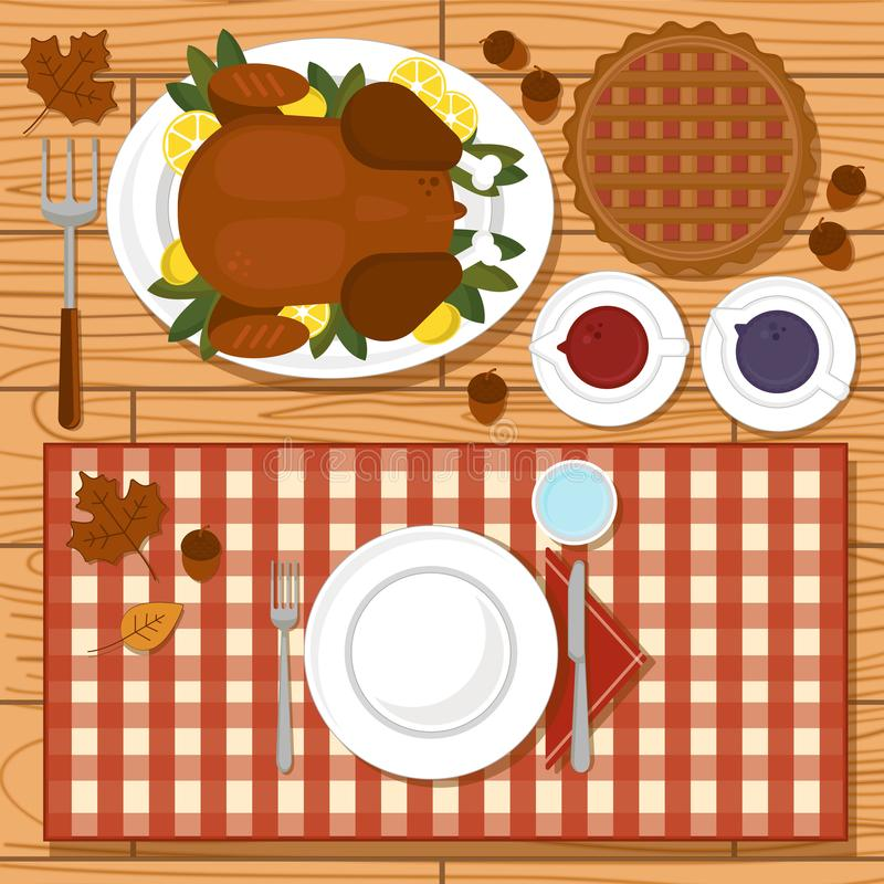 Thanksgiving day flat lay. Cute flat lay of thanksgiving day vector illustration