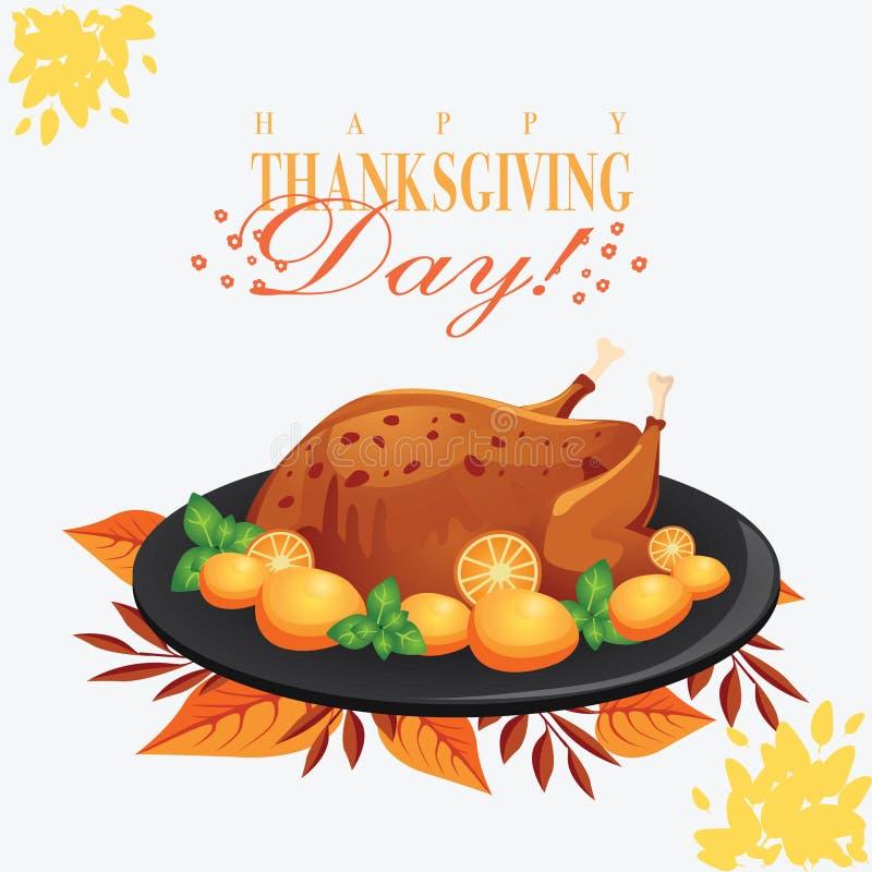 Thanksgiving day Geroosterd Turkije op Zwarte Plaat royalty-vrije illustratie