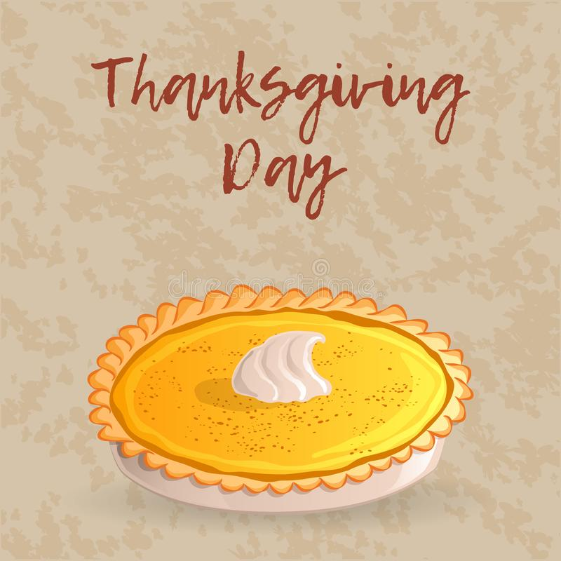 Thanksgiving day greeting card, banner or background with a traditional pumpkin pie. Hand drawn style. Vector stock illustration