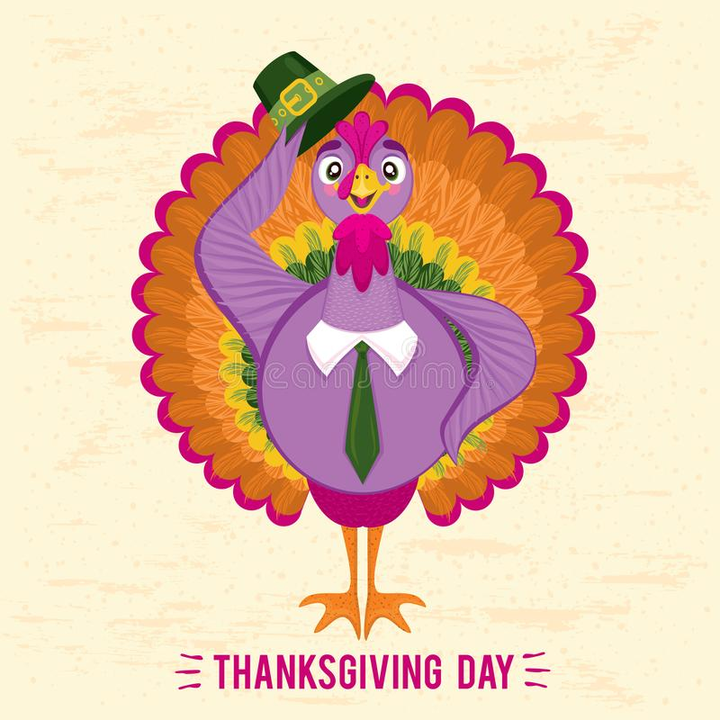 Thanksgiving Day greeting card with cute happy cartoon of turkey bird vector illustration