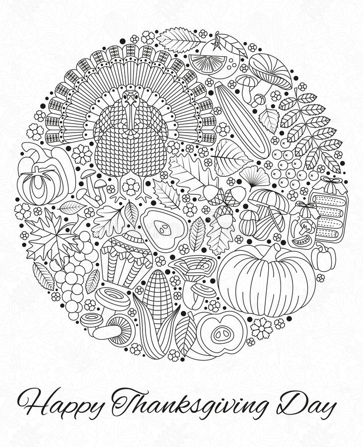 Thanksgiving day greeting card. Various elements for design vector illustration