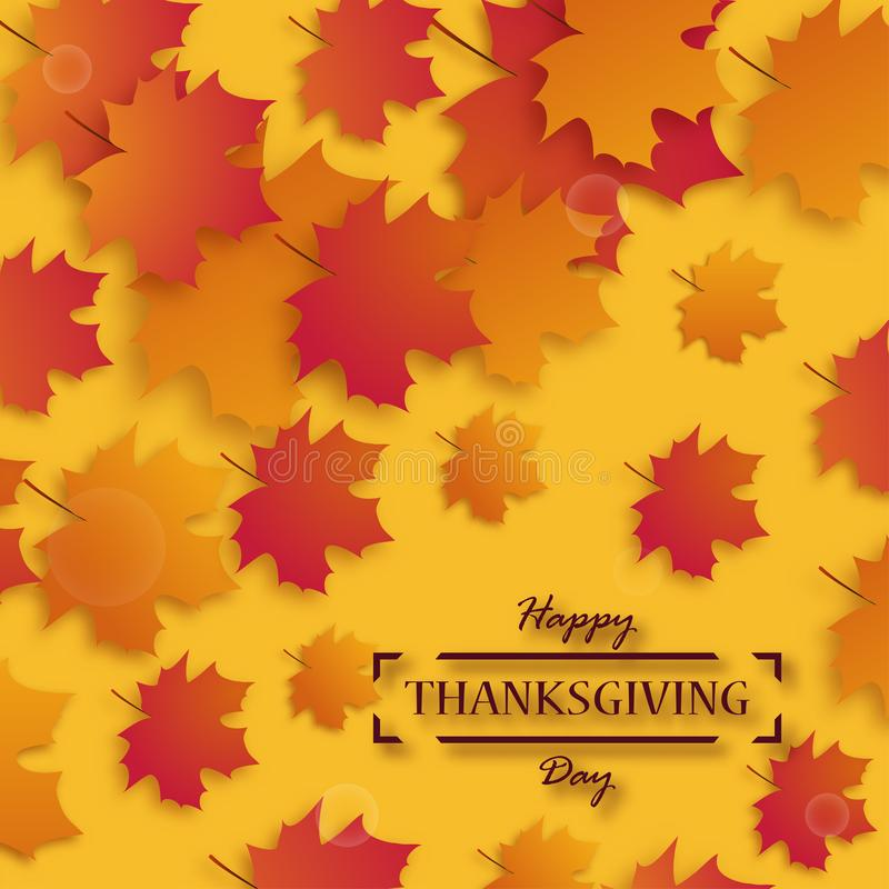 Thanksgiving Day. Happy Thanksgiving holiday design with bright autumn leaves and greeting text on yellow background vector illustration