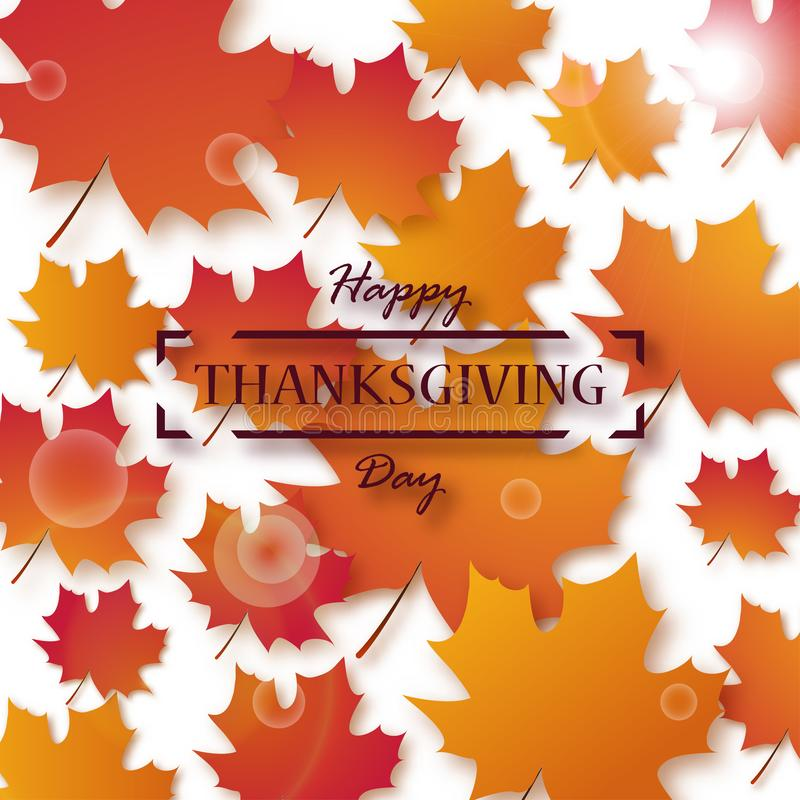 Thanksgiving Day. Happy Thanksgiving holiday design with bright autumn leaves and greeting text stock illustration