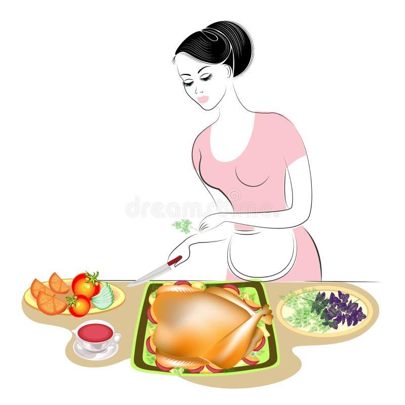 Thanksgiving day Het meisje bereidt een feestelijke maaltijd voor Een vrouw verfraait Turkije op een schotel De dame maakte een s royalty-vrije illustratie