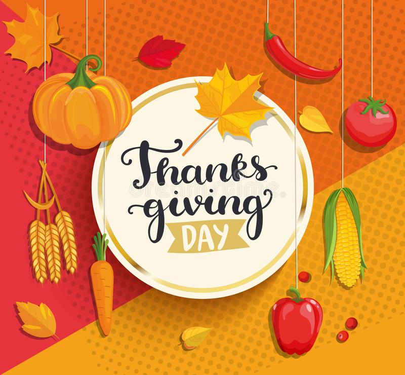 Thanksgiving day het van letters voorzien op geometrische achtergrond vector illustratie