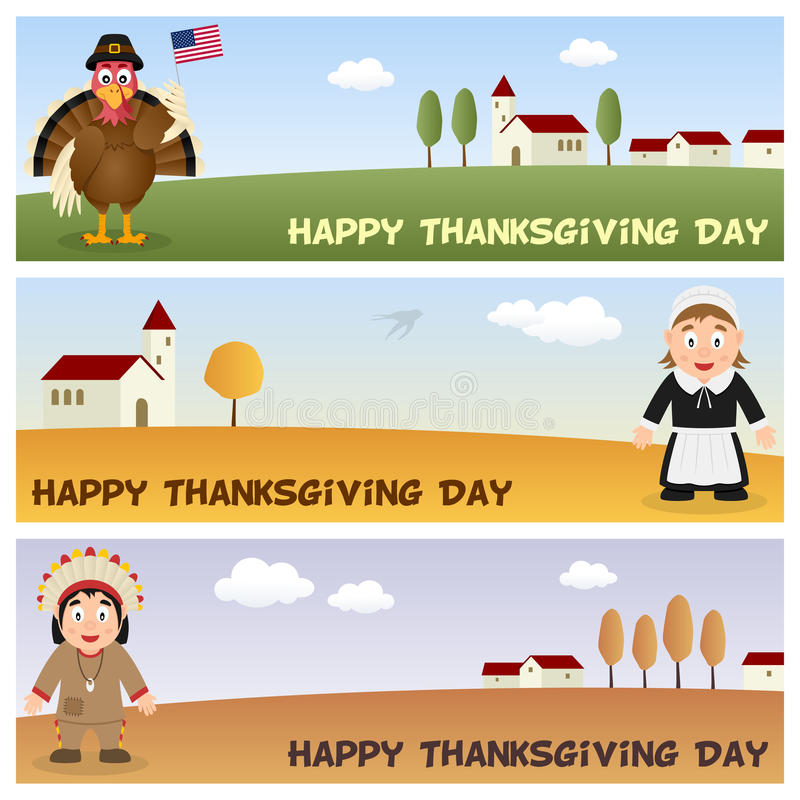 Thanksgiving day Horizontale Banners [2] vector illustratie