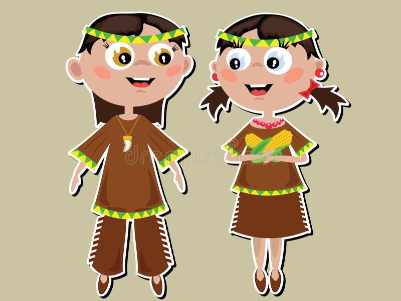 Thanksgiving Day, Indian kids stock illustration