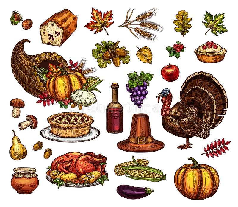 Thanksgiving day isolated vector icons set vector illustration