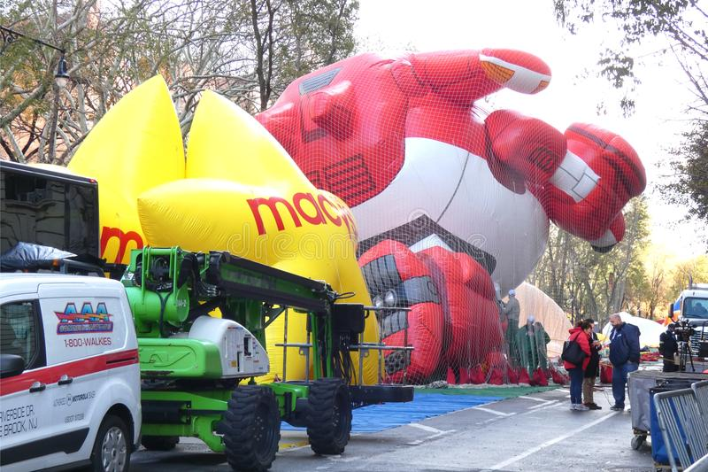 Thanksgiving Day Parade Balloons Inflating. Balloons are being inflated in New York City, the day before the Macy`s Thanksgiving Day Parade stock images