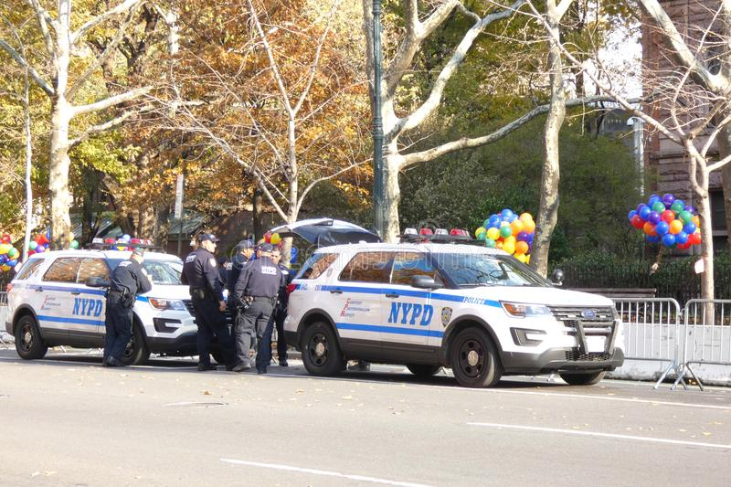 Thanksgiving Day Parade Preparations. Officers of the counterterrorism unit of the NYPD in the city during the preparations for the 2017 Thanksgiving Macy`s Day stock photos