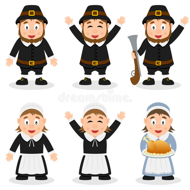 Thunderbird 6 Cartoon Characters : Thanksgiving day pilgrim characters set stock vector