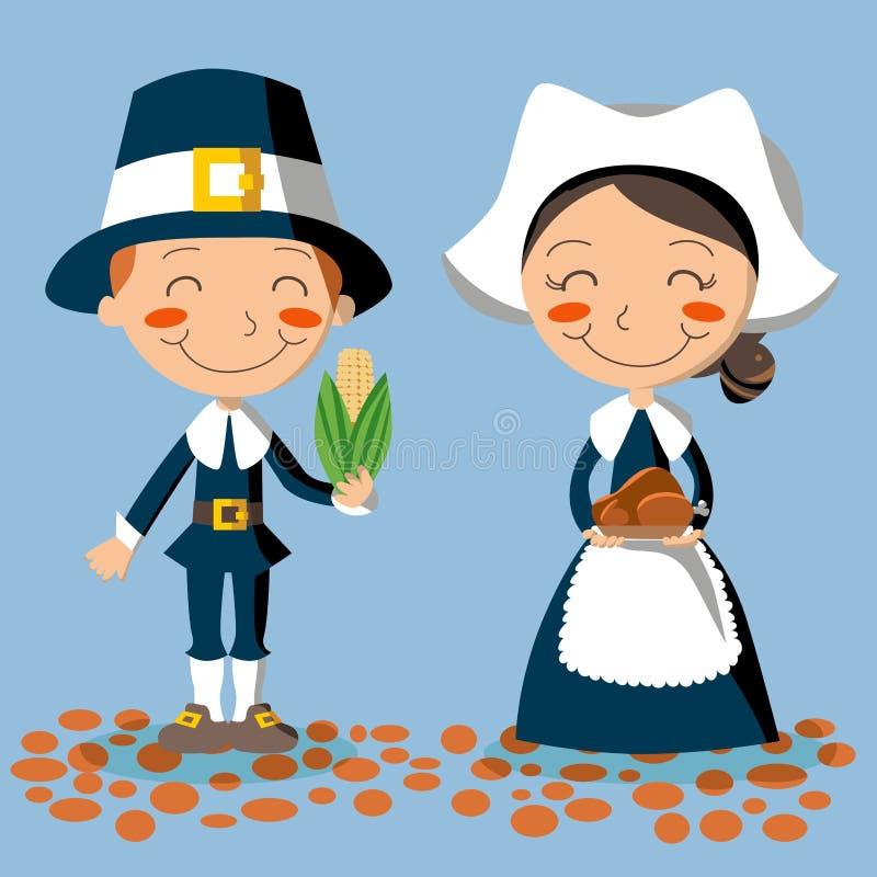 Thanksgiving Day Pilgrim Couple. Pilgrim couple holding corn and turkey to celebrate Thanksgiving Day