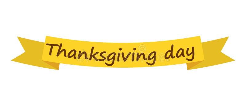 Thanksgiving day ribbon icon, flat style royalty free illustration