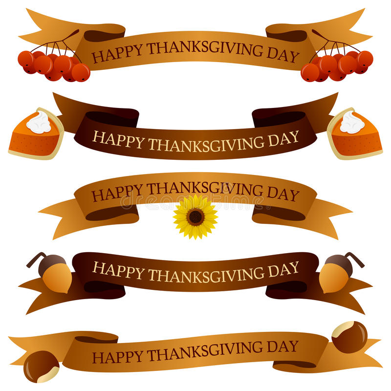 Thanksgiving Day Ribbons or Banners Set. Collection of Happy Thanksgiving Day party ribbons or banners in two different colors (yellow and brown) with autumnal stock illustration