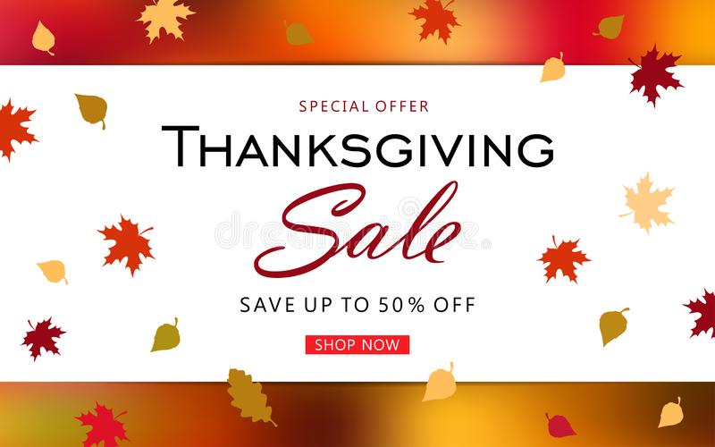 Thanksgiving day sale banner background with fall leaves. stock illustration