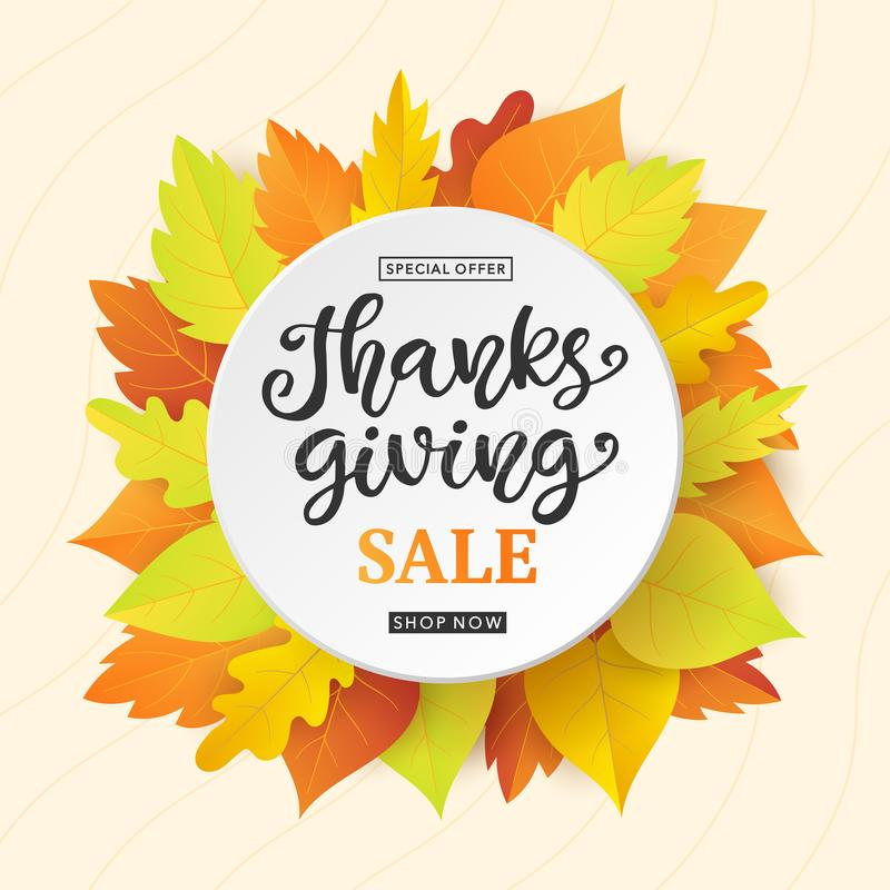 Thanksgiving Day Sale banner template with colorful fall leaves and ink lettering royalty free illustration