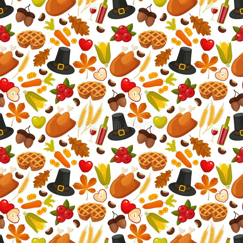 Thanksgiving day seamless background.Symbols of thanksgiving day and family traditions elements for holiday design on royalty free illustration