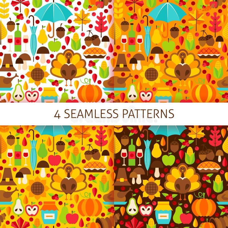Thanksgiving Day Seamless Patterns vector illustration