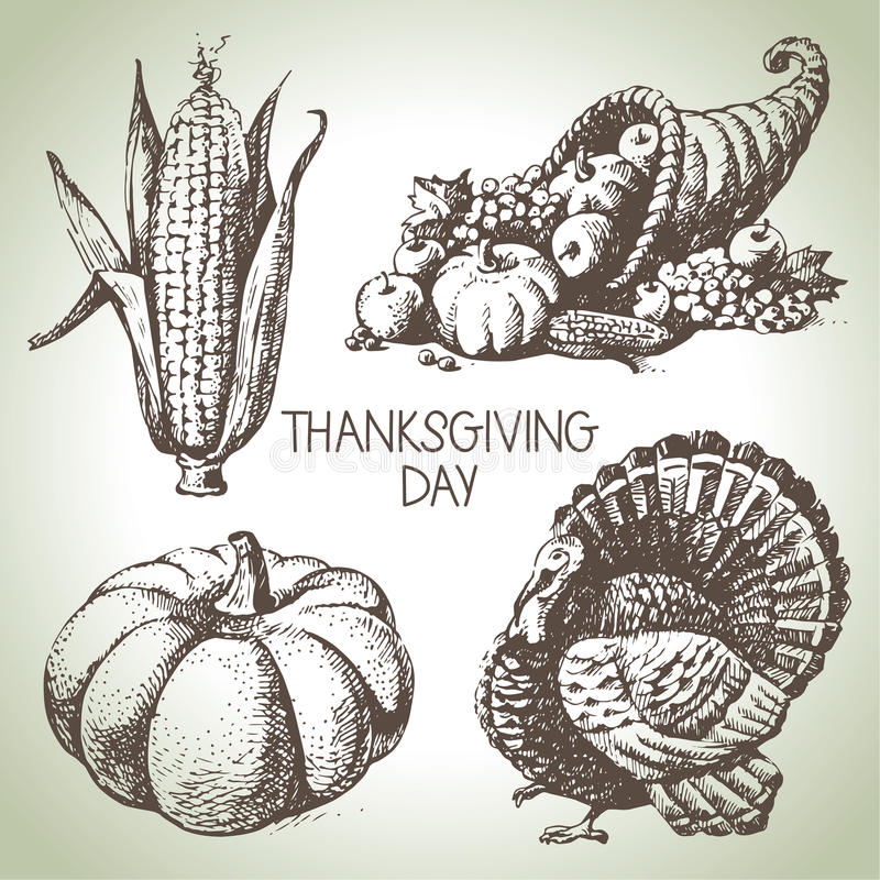 Thanksgiving Day set stock illustration