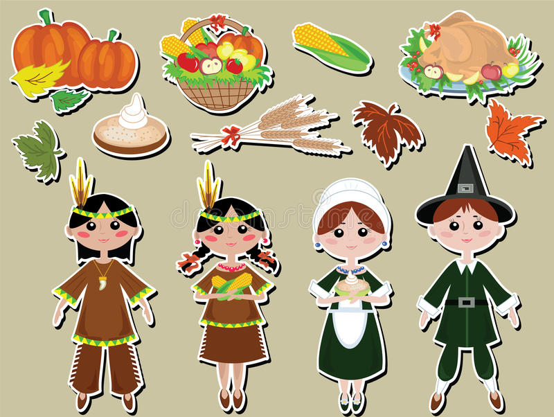 Thanksgiving day set icons royalty free illustration