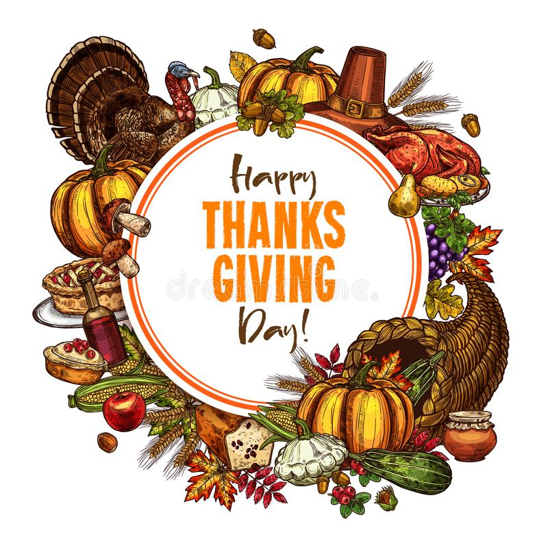 Happy Thanksgiving day vector sketch poster royalty free illustration
