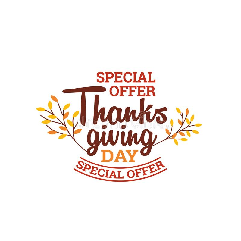 Thanksgiving day special offer typography badge with autumn fall dry leaf vector illustration. Element for online shop web, banner, poster, flyer design vector illustration