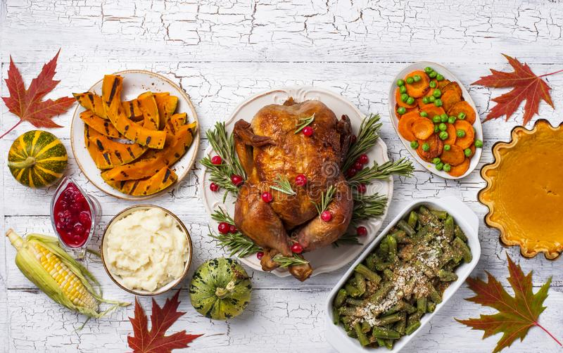 Thanksgiving Day traditional festive dinner stock photos