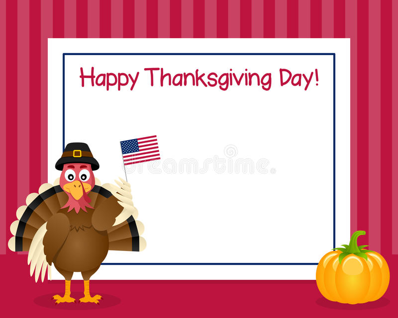 Thanksgiving Day Turkey Horizontal Frame. Happy Thanksgiving Day horizontal photo frame with a cute turkey character holding a USA flag and a pumpkin, on red royalty free illustration