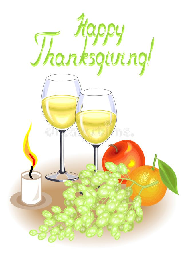 Thanksgiving Day. Two glasses of white wine and a candle. Vintage fruits, apple, grapes and orange. Vector illustration stock illustration