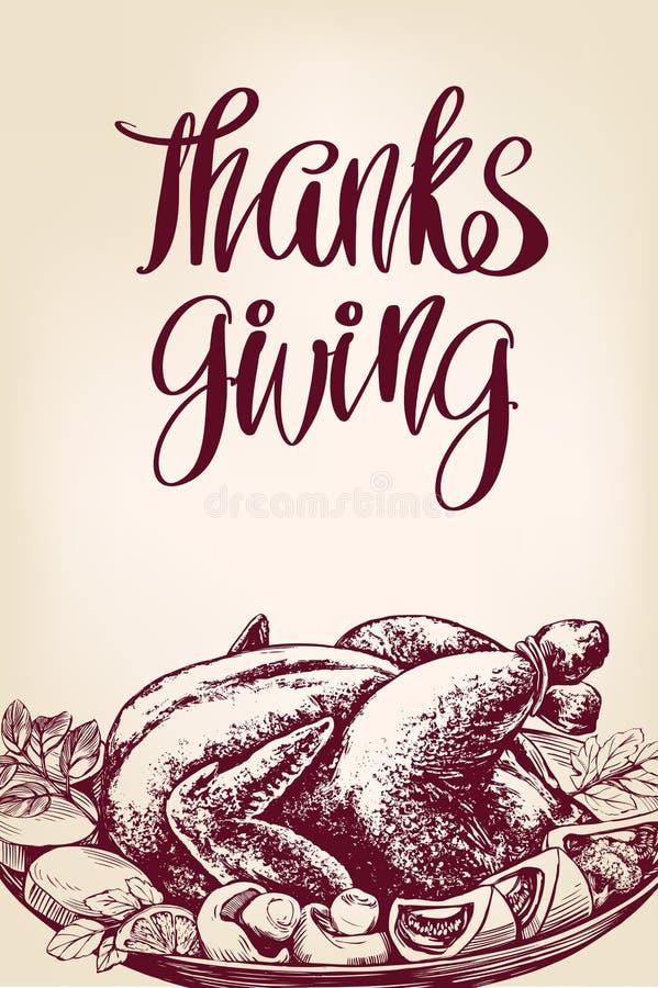 Thanksgiving day, vakantieaffiche, roosterde Turkije, kip, met ingrediënten, de getrokken vector van de kalligrafietekst hand vector illustratie