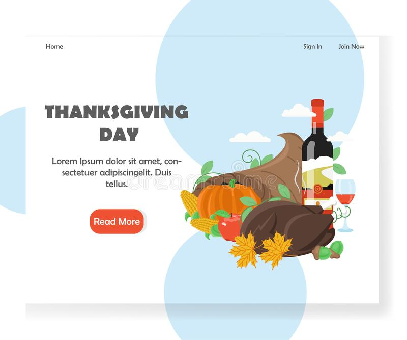 Thanksgiving Day vector website landing page design template stock illustration