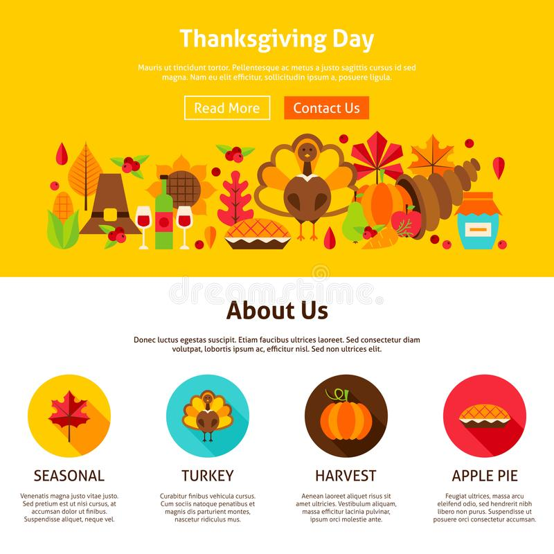 Thanksgiving Day Website Design vector illustration