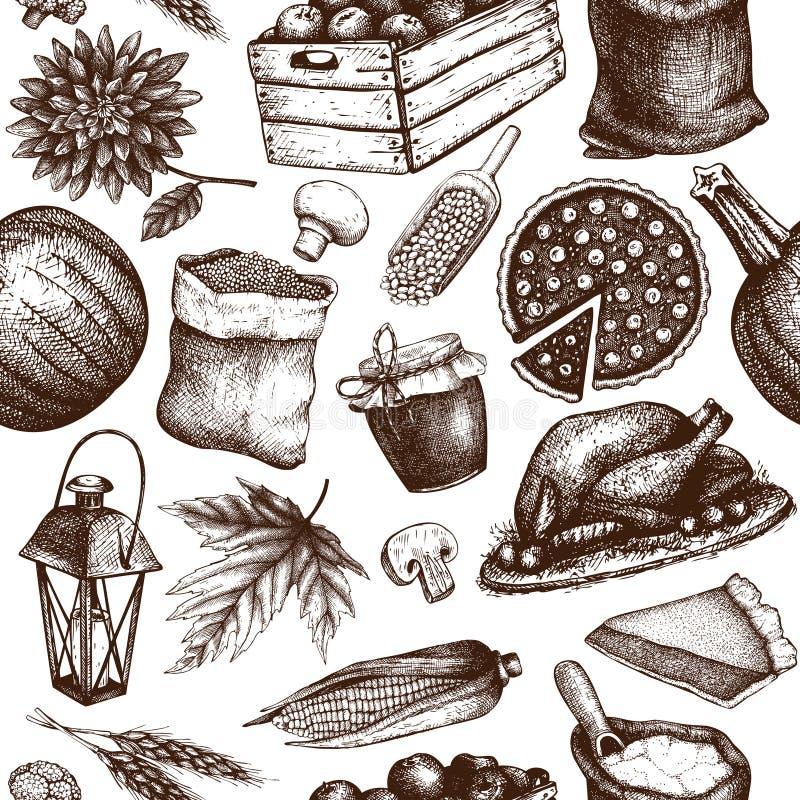 Thanksgiving dayachtergrond Vector naadloos patroon met hand getrokken traditionele voedselillustraties De elementen van het fami stock illustratie