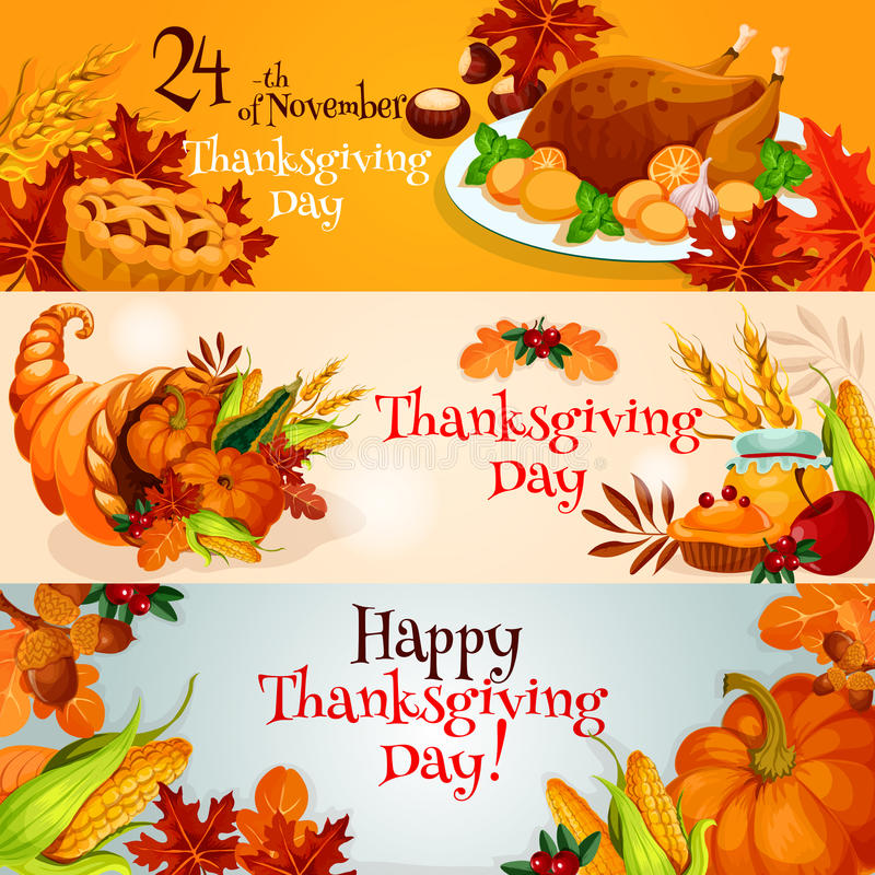 Thanksgiving daybanners met traditionele elementen stock illustratie