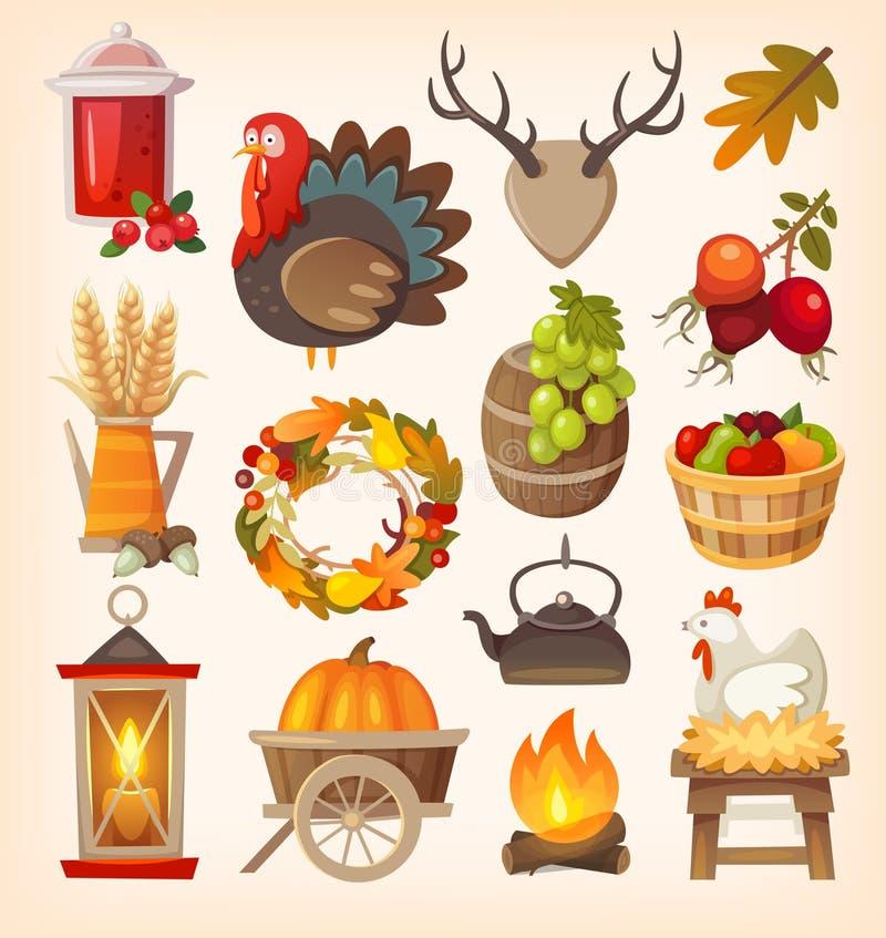 Thanksgiving dayelementen vector illustratie