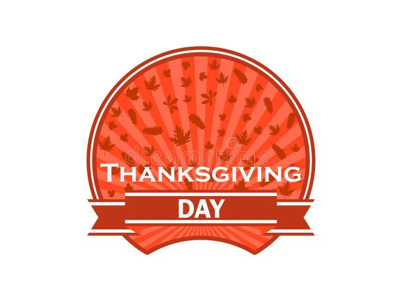 Thanksgiving dayetiket op witte achtergrond De herfstbladeren en lint Vector vector illustratie