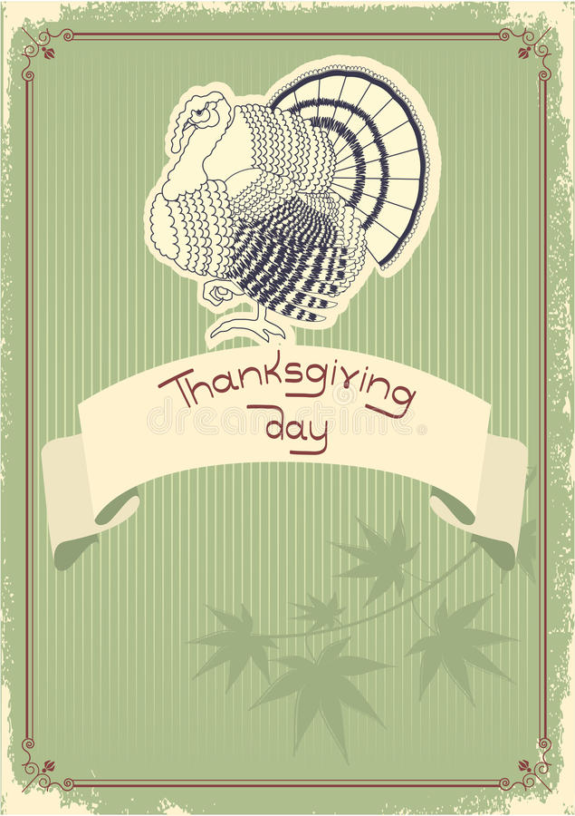 Thanksgiving Decoration Postcard.Vintage Royalty Free Stock Photos