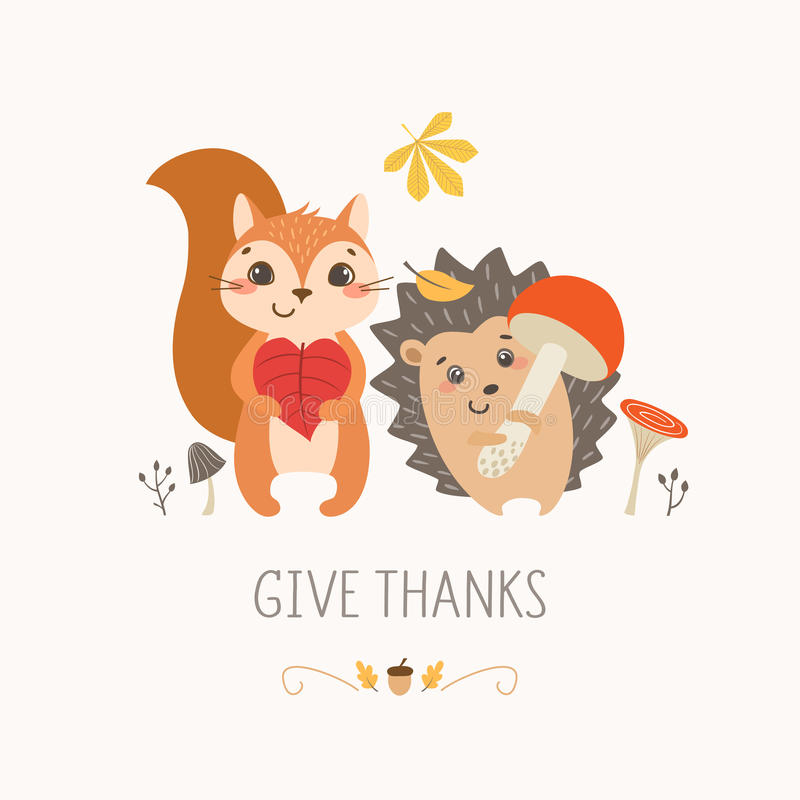 Thanksgiving cute forest animals stock illustration