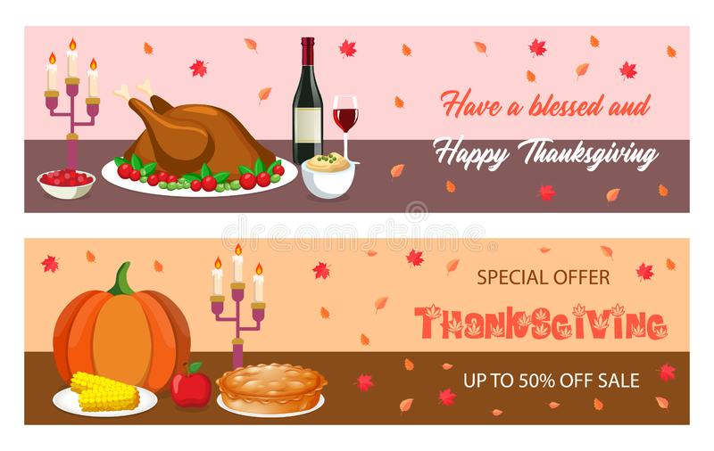 Thanksgiving dinner banner, poster, card, flyer. Vector illustration of traditional american food, turkey, pie, pumpkin, royalty free stock photography