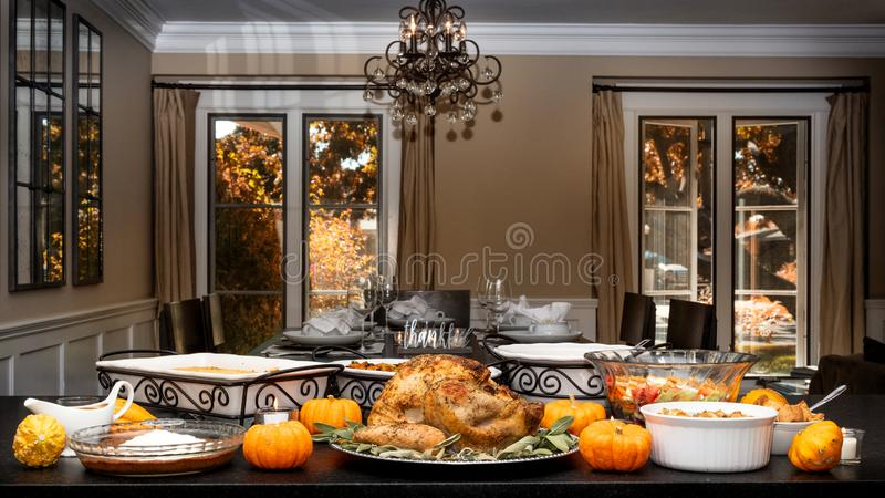 Thanksgiving Dinner Buffet With Copy Space royalty free stock images