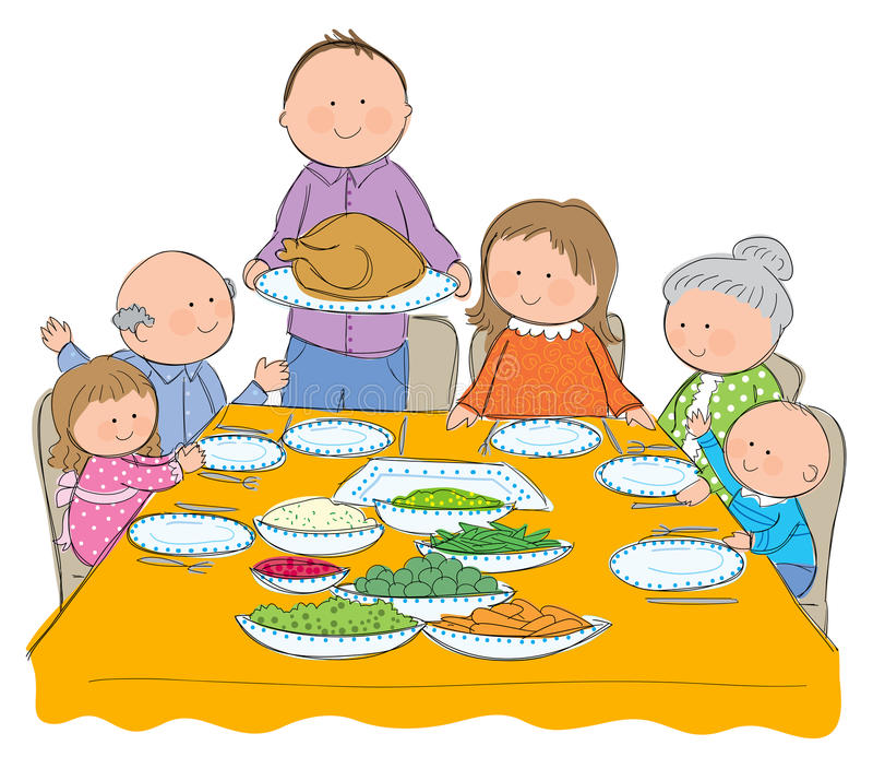 Thanksgiving Dinner. Hand drawn picture of Thanksgiving dinner. Illustrated in a loose style. Vector eps available stock illustration