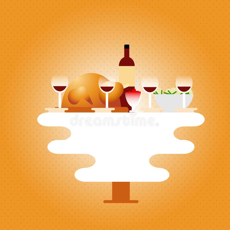 Thanksgiving dinner with home made dishes on table flat vector illustration. Turkey, vine, potato and cranberry sauce. Retro style stock illustration