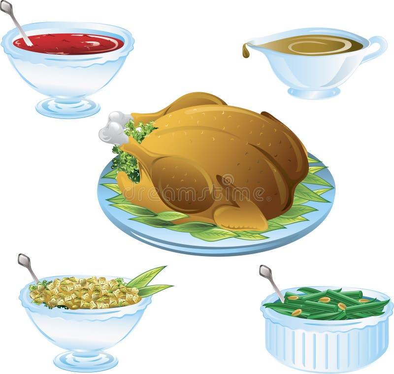Thanksgiving dinner icons royalty free illustration