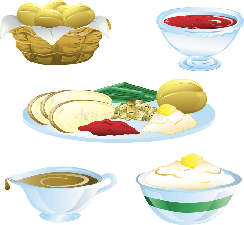 Thanksgiving dinner icons. Illustrations of different thanksgiving icons
