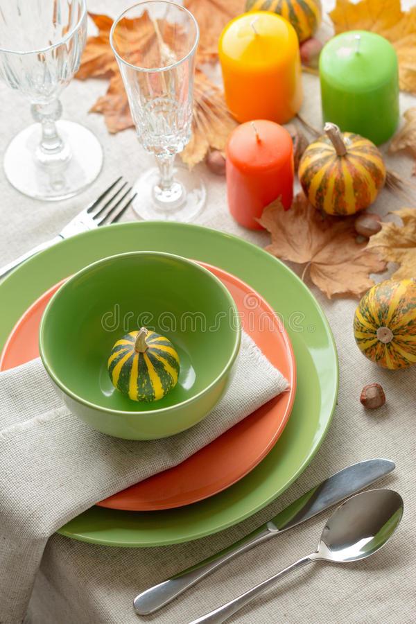 Thanksgiving dinner. Seasonal table setting with autumn leaves, royalty free stock images