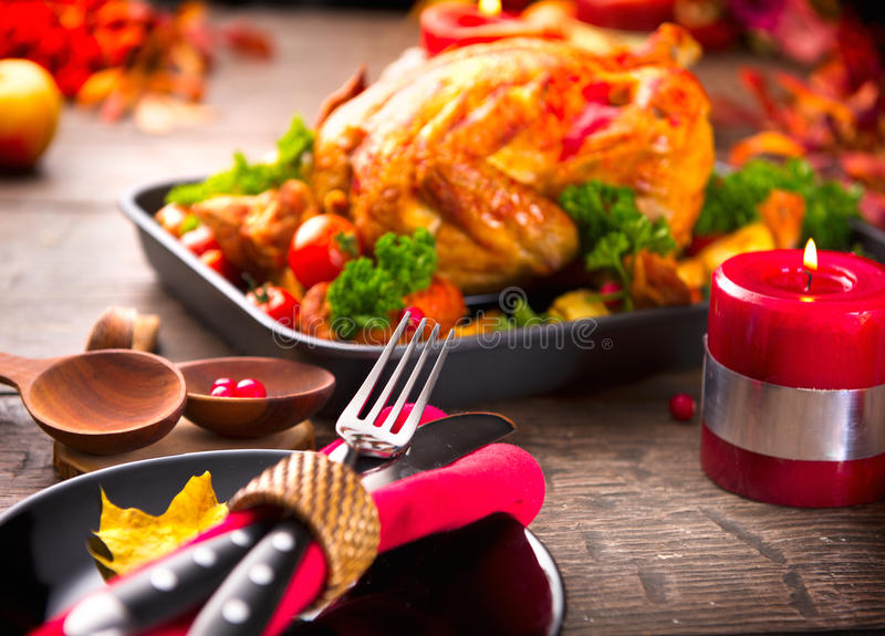 Thanksgiving dinner table served with turkey royalty free stock photo