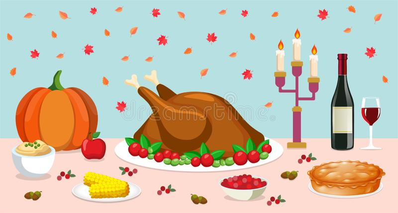 Thanksgiving dinner. On the table are traditional American dishes such as turkey, pie, cranberries and so on. Vector illustration royalty free stock photography